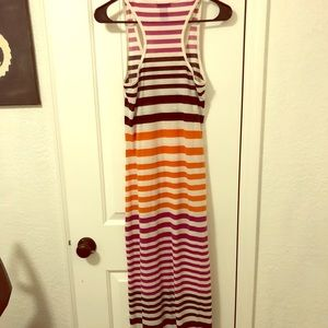 Maxi dress with stripes - racer back comfy cotton